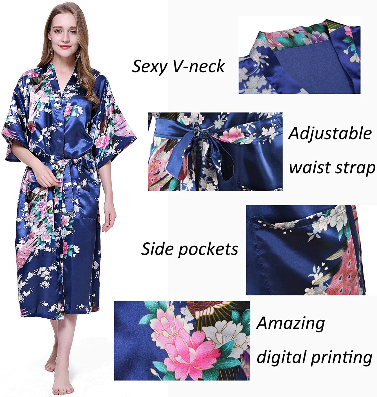 HonourSport Donna accappatoi Peacock Kimono lunghi vestaglia giapponese Robe abito pi/ù Silk Size