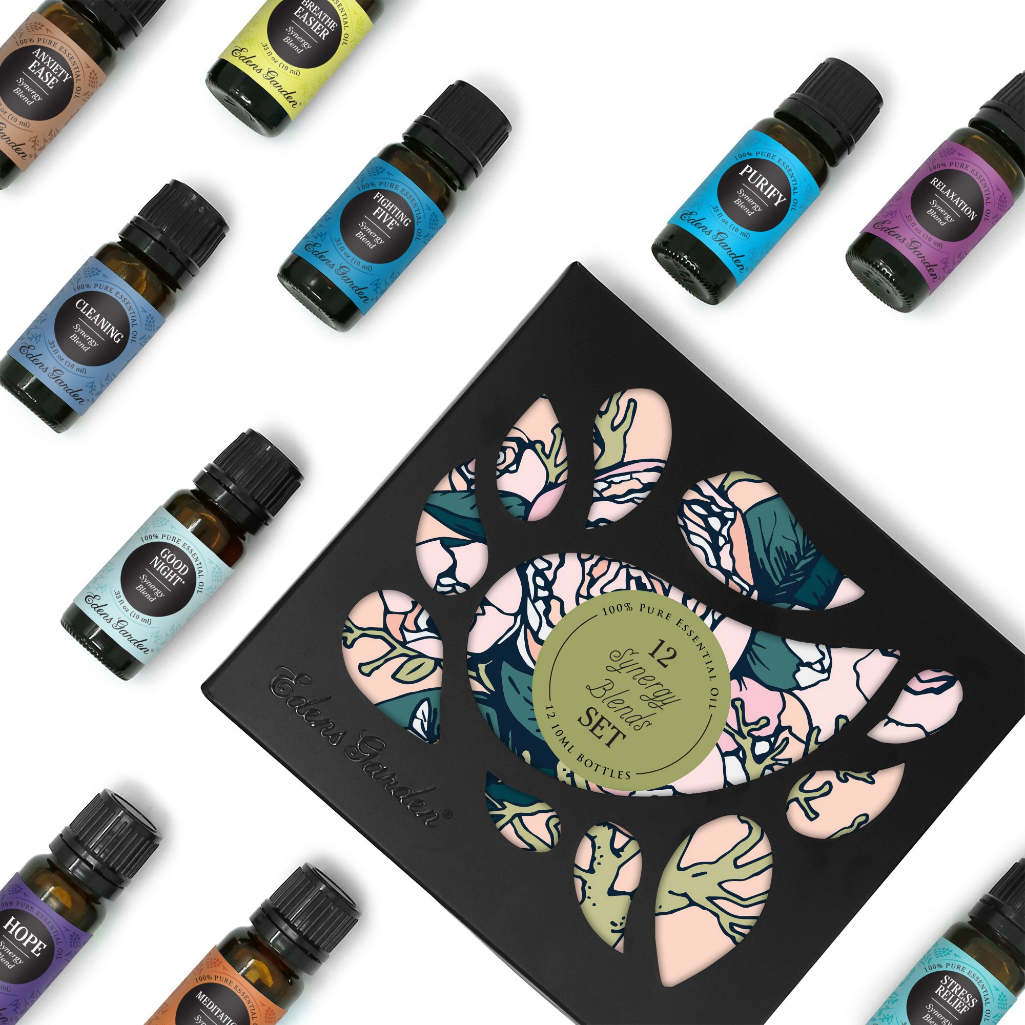 Edens Garden Synergy Blends 12 Set, Best 100% Pure Essential Oil Aromatherapy Starter Kit (for Diffuser & Therapeutic Use), 10 ml by Edens Garden