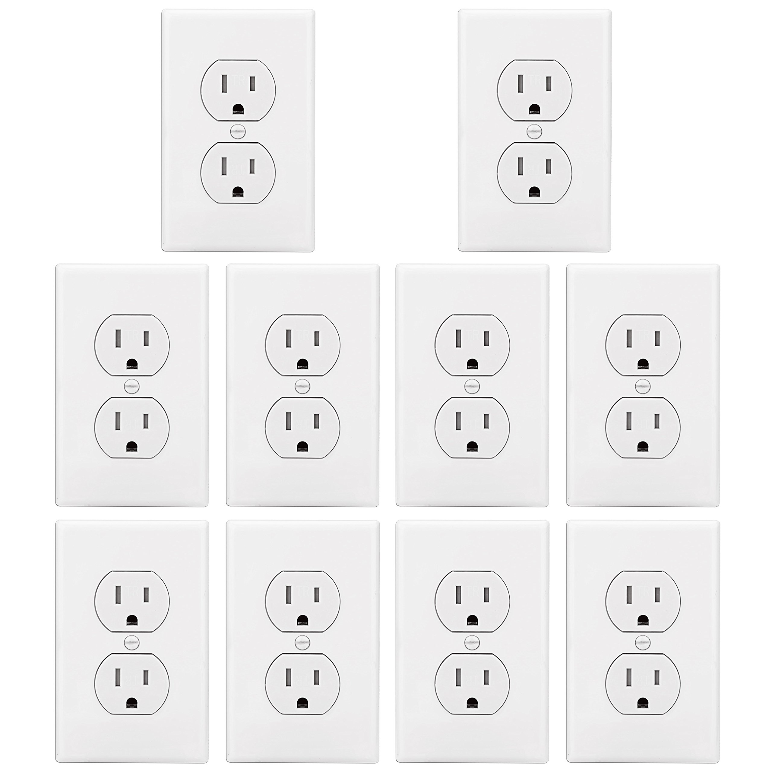 [10 Pack] BESTTEN 15A Tamper Resistant Duplex Outlet, Electrical Receptacle with Decorator Wall Plate, Residential and Commercial Grade, Self-Grounding, UL Listed, White