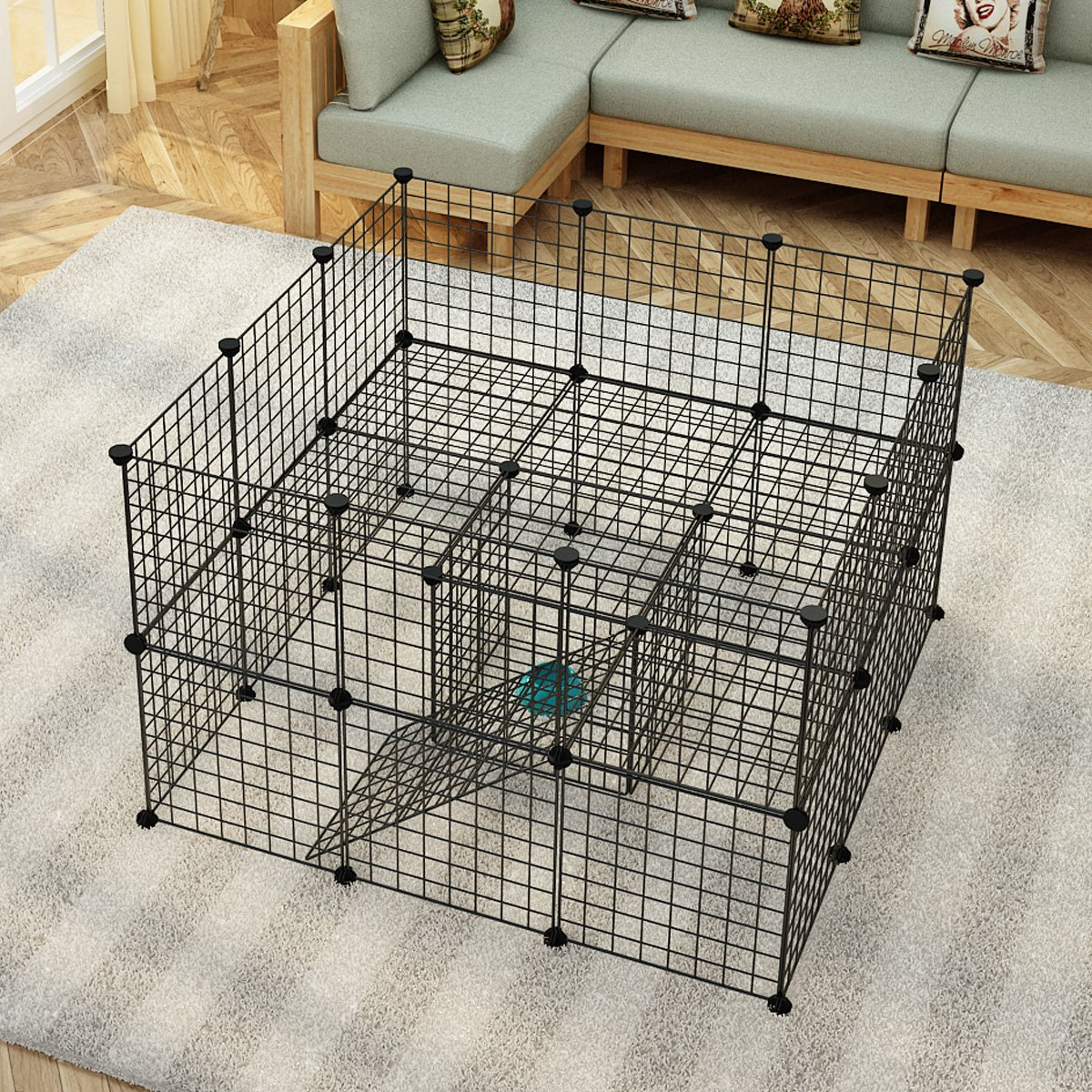 JYYG Small Pet Pen Bunny Cage Dogs Playpen Indoor Out Door Animal Fence Puppy Guinea Pigs, Dwarf Rabbits PET-F (36 Panels, Black) by JYYG (Image #2)
