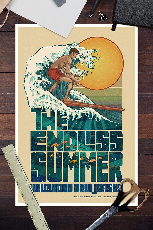 Amazon.com: The Endless Summer - Underwater Scene - Wildwood, NJ (12x18 Art Print, Wall Decor Travel Poster): Posters & Prints