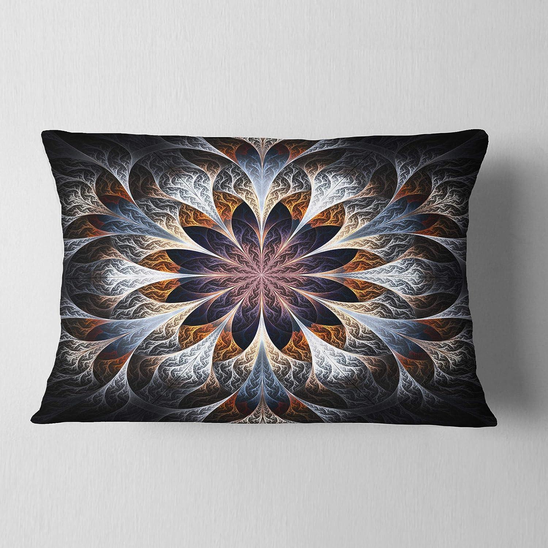 Designart CU11856-12-20 Gray Brown Digital Art Fractal Flower Floral Lumbar Cushion Cover for Living Room Sofa Throw Pillow 12 x 20
