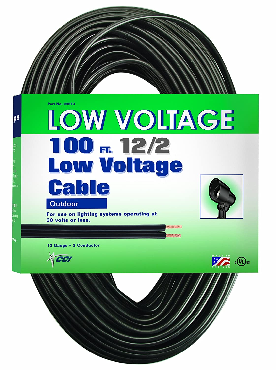 Coleman Cable Low Voltage Outdoor Lighting Cable (100 Ft, 12/2 gauge,  Black) - Led Household Light Bulbs - Amazon.com