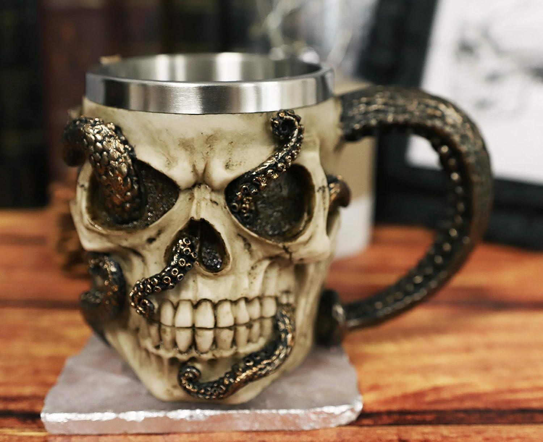 Ebros Shipwrecked Skeleton Cranium Skull With Parasite Octopus Beverage Drinkware Serveware Ossuary Macabre Halloween Decorative Accent (Drinking Mug)