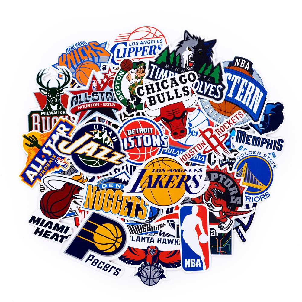Nba team stickers set 43pack all teams collection sticker decals packs for water bottle laptop cellphone skateboard bicycle motorcycle car bumper luggage