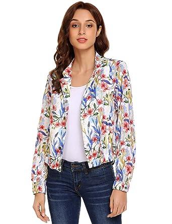 d8bc06bf42d0 SoTeer Women s Lightweight Floral Long Sleeve Jacket Boho Short Blazer  Printed Flyaway Coat White S