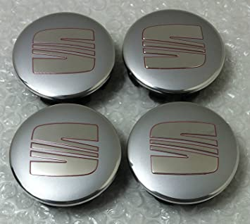 4x SEAT SILVER CHROME RED Logo Emblem 63mm Wheel Badge Centre Hub Caps Dust Covers 1P0