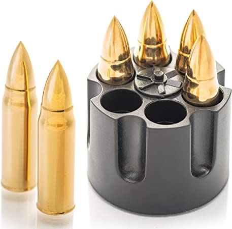 Whiskey Stones Bullets with Base - Whiskey Ice Cubes Reusable - Gifts for Gun Lovers