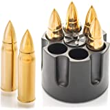 Whiskey Stones Bullets with Base - Gold XL Whiskey Ice Cubes Reusable - Cool Gifts for Men - Set of 6 Whiskey Bullets Stainle