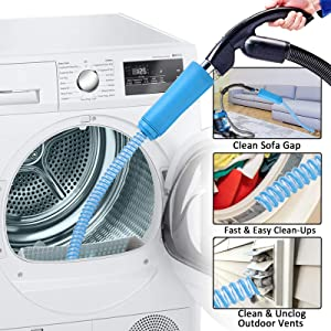 AMZLIFE Dryer Vent Cleaner Kit Dryer Vent Cleaner Hose Attachment 3.5 Feet Long Unbreakable Rigidity Hose Attachment Brush Lint Remover Power Washer and Dryer