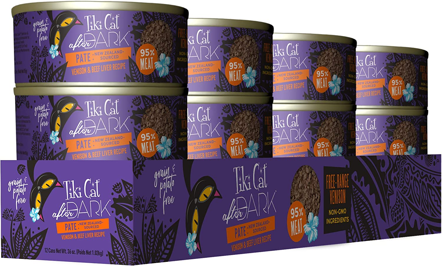 Tiki Cat After Dark Grain Free Wet Food with Meat, Chicken, Organ Meats Liver Gizzards and Heart for Cats & Kittens