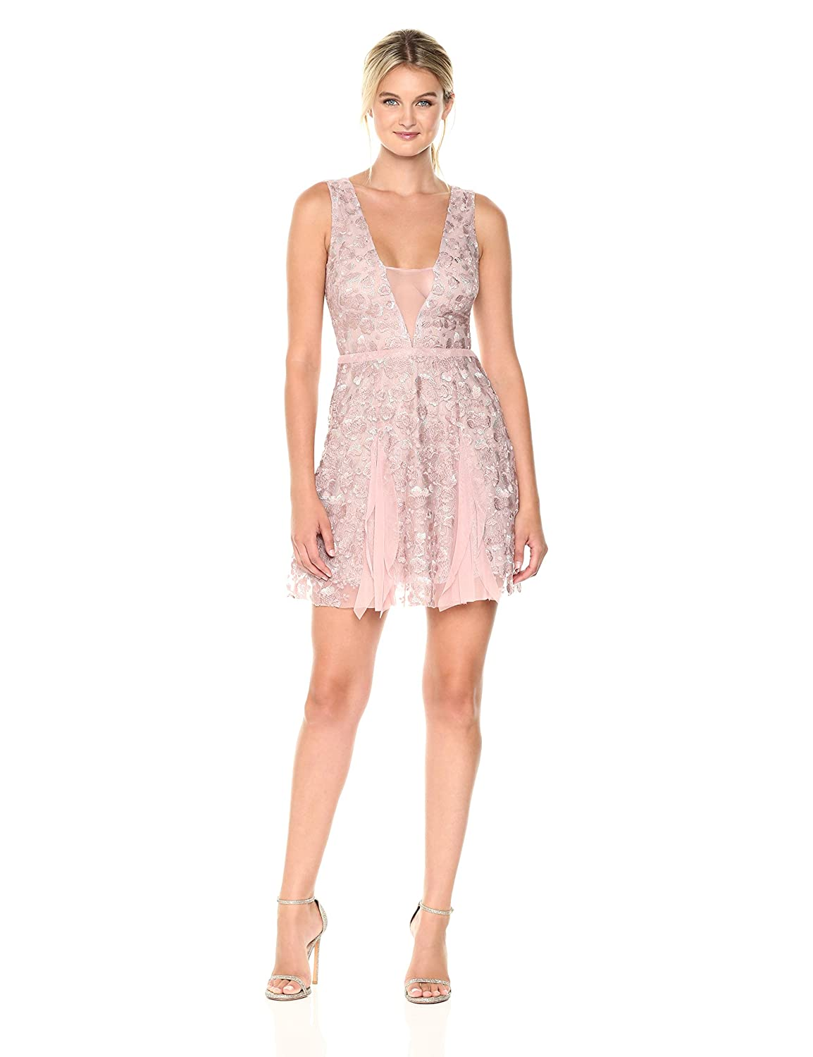 Antique pink BCBGMax Azria Women's Pheobe Knit Ruffled Dress with Back Cut Out