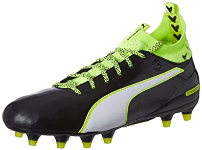 PUMA Evotouch 1 FG Mens Leather Soccer Boots/Cleats-Black-7.5