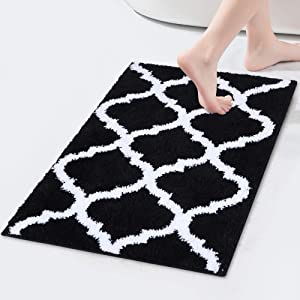 "Olanly Luxury Bathroom Rugs Microfiber Bath Shower Mat, Machine Wash and Dry, Non-Slip Absorbent Shaggy Carpet Bath Mat for Bathroom, Living Room and Laundry Room 17"" x 24"", Black"