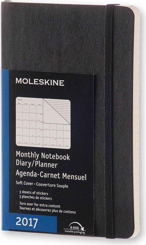 Moleskine 2017 Agenda Mensile Con Spazio Per Note, 12 Mesi, Copertina Morbida, Nero