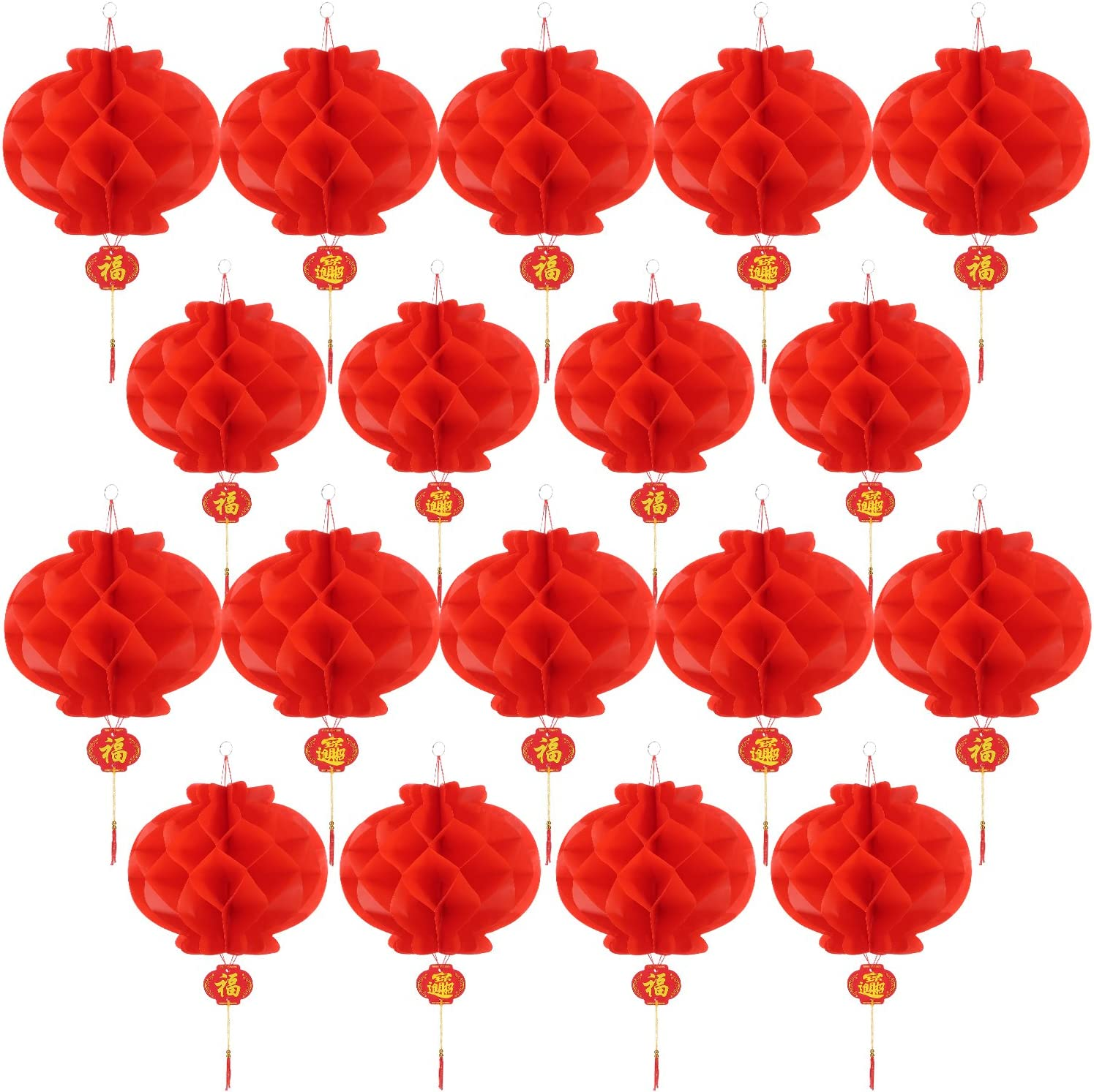 Bememo 20 Pieces Chinese New Year Red Paper Lanterns Thickened Encryption Chinese Hang Lantern Decorations (10 Inch)