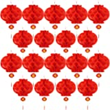 bememo 20 pieces 10 inch chinese new year red paper lanterns chinese hang lantern decorations - Chinese New Year Decorations