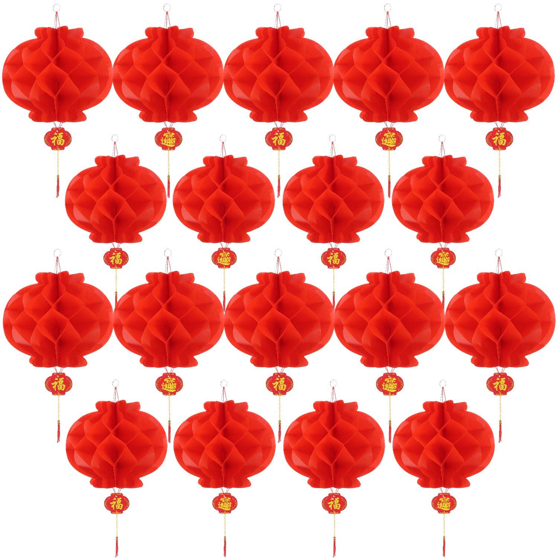 20 Pezzi 10 Pollici Capodanno Cinese Lanterne di Carta Rosso Lanterne Cinesi da Appendere Decorazione Bememo