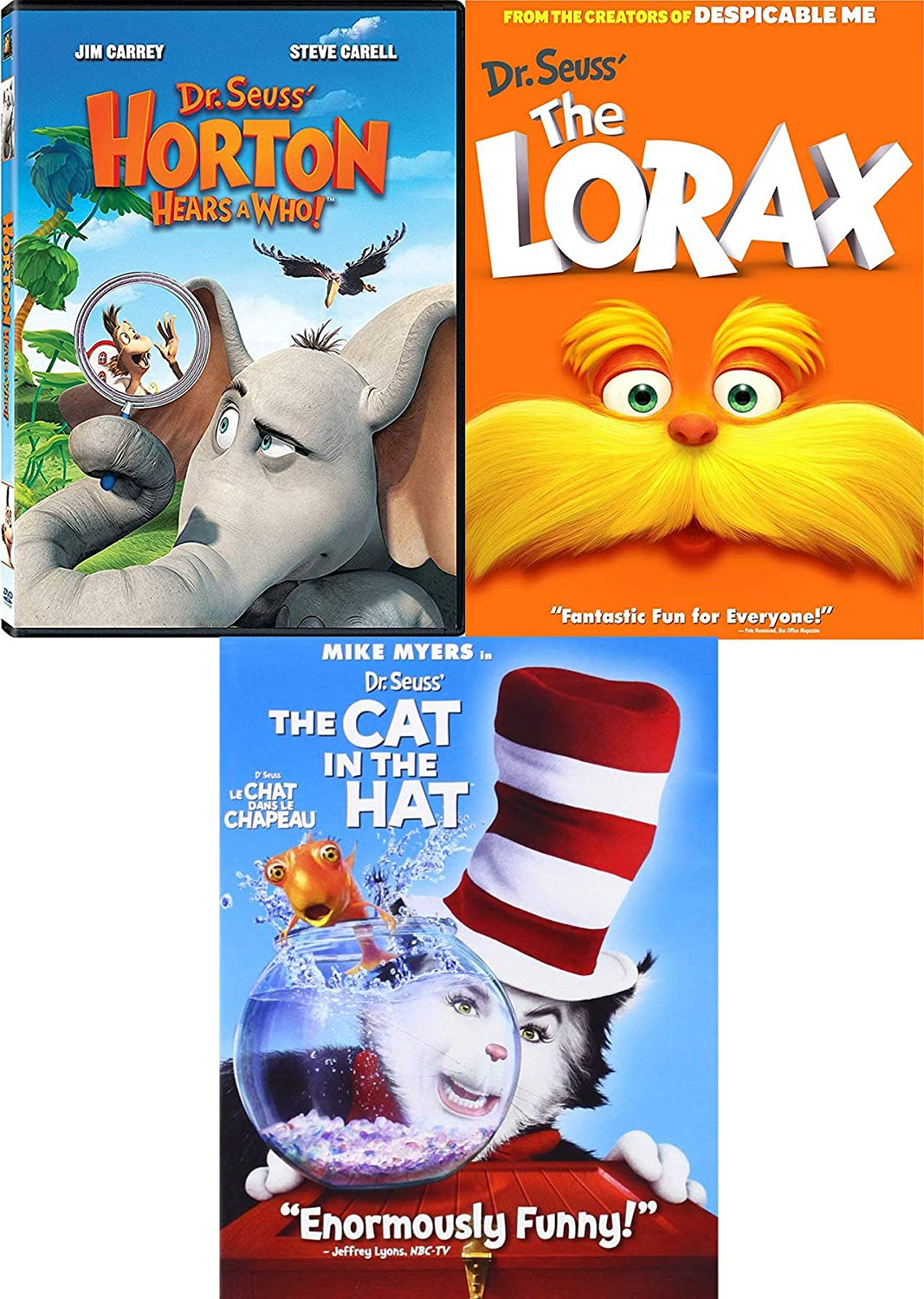670b96c1 Amazon.com: Who's Dr. Seuss Triple DVD Horton Hears A Who! + The Lorax  Animated + Cat in the Hat Live Action 3 Feature DVD Set The imaginative  world comes ...