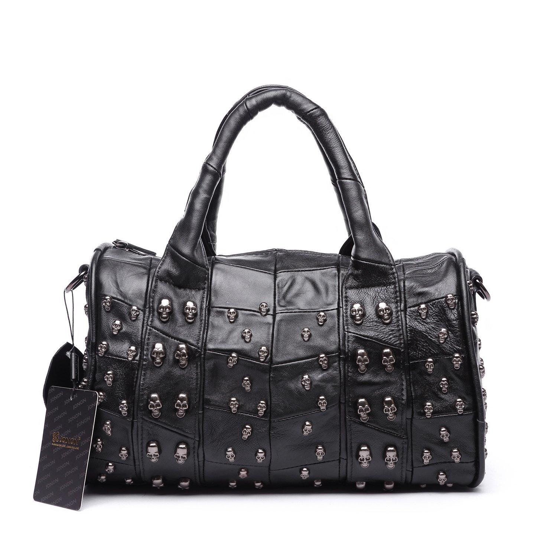Jonon 12.6 Inch Women's Lambskin Doctor Style Handbag Skull Studded Shoulder Satchel Bag