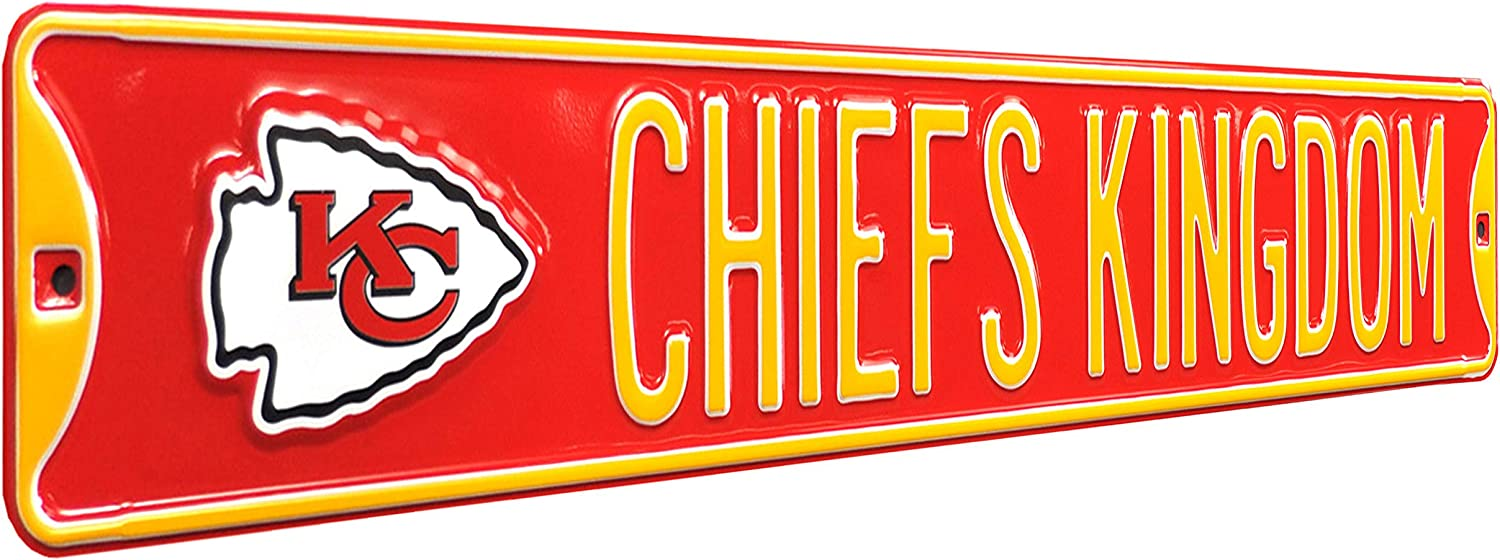 NFL Kansas City Chiefs - CHIEFS KINGDOM, Metal Wall Decor- Large, Heavy Duty Steel Street Sign – Football Wall Decor for Dorm Room Decorations, Man Cave Decor, Office and Gifts, Red, One Size