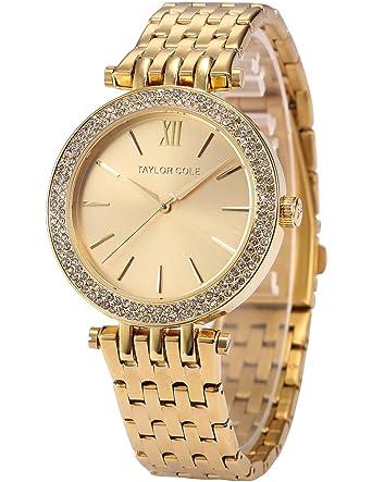Gemeinsame Taylor Cole Damen Goldene XL Zifferblatt Armbanduhr, Edelstahl #MT_11
