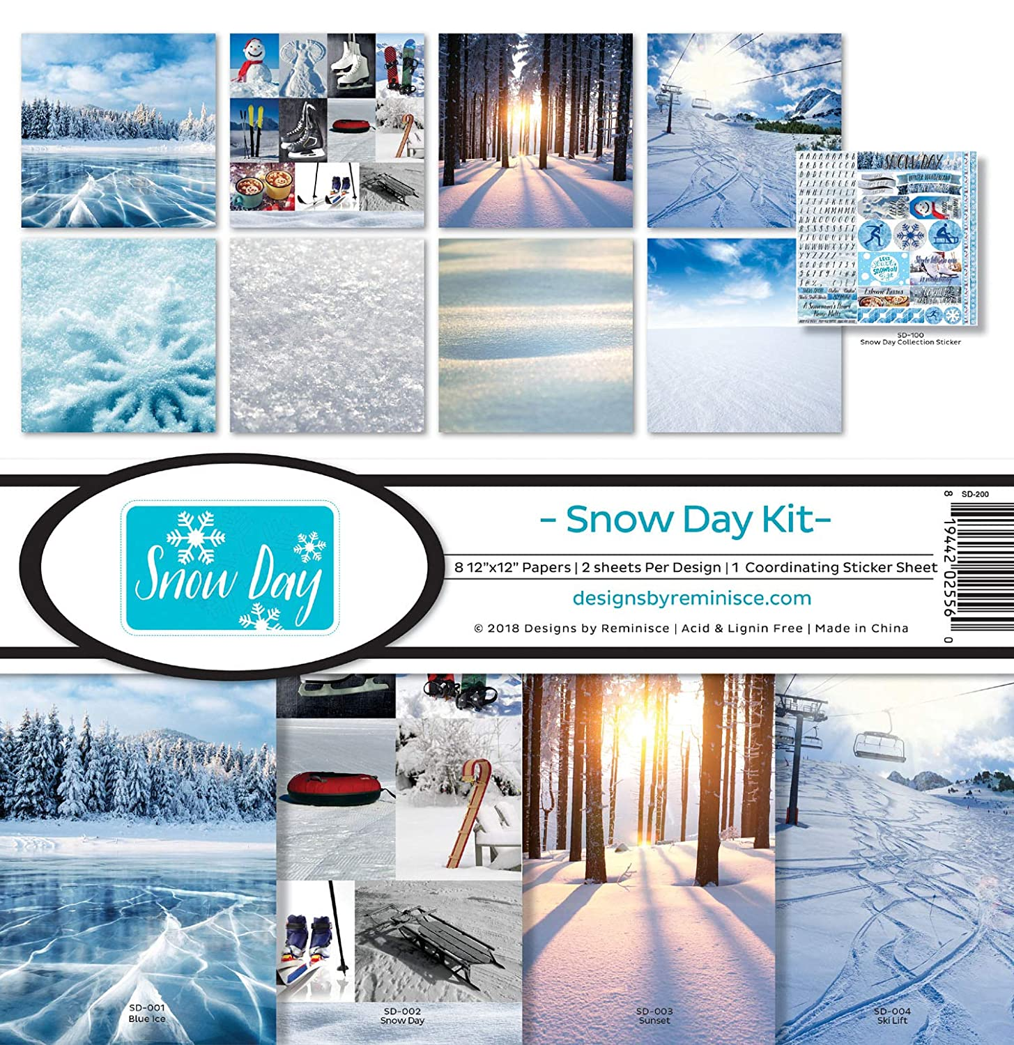 Reminisce SD-200 Snow Day Scrapbook Collection Kit REMBC Multicolor