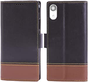 iPulse London for iPhone XR Italian Full Grain Leather Flip Case for Apple iPhone XR/10R (2018) with Magnetic Closure -Black/Brown