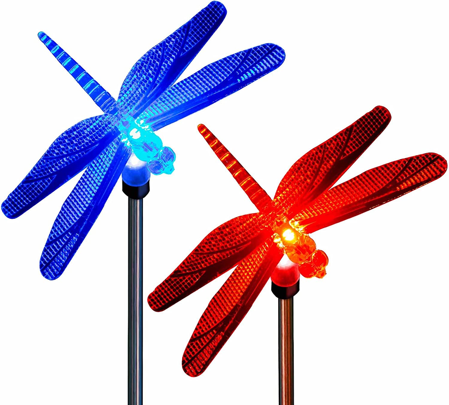 Dragonfly Decor Solar Color Changing Outdoor Holiday Decoration Garden Stake Lights for Christmas Thanksgiving Outdoor Patio Lawn Yard Decorative Fixture (2 Pack)