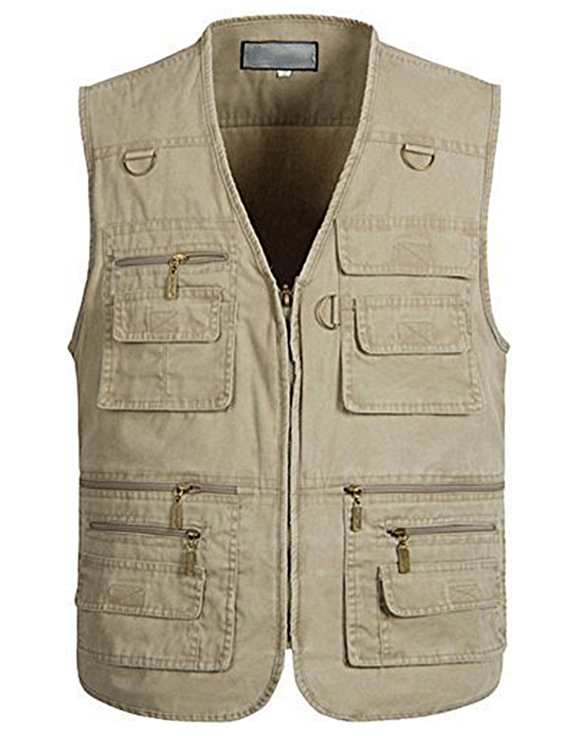 Alipolo Vest for Men Fishing Vest Outdoor Photo Travels Sports Vest Tops Khaki Large by Alipolo