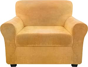 FINERFIBER Velvet High Stretch 2 Piece Armchair Slipcover | Thick Couch Cover for Pets | Couch Covers for 1 Cushion Couch | Furniture Protector for Separate Cushion Couch (Armchair, Sand)