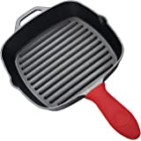 Utopia Kitchen Pre-Seasoned Cast-Iron Square Grill Pan with Silicone Hot Handle Holder, 10.5-inch