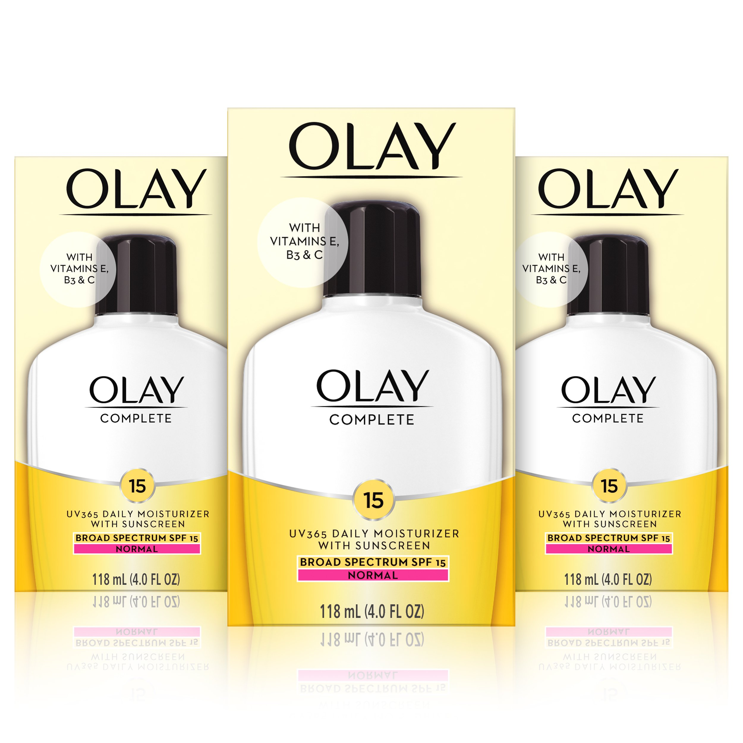 Olay Complete Lotion Moisturizer with SPF 15 Normal, 4.0 Fluid Ounce, 3 Count by Olay