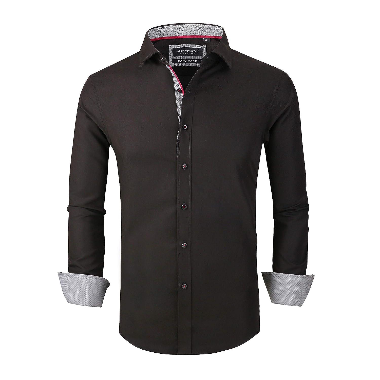 44c8c7653dc Alex Vando Mens Dress Shirts Wrinkle Free Slim Fit Long Sleeve Men Shirt