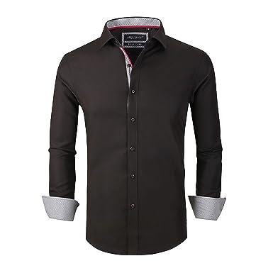 b46a6c2baca Alex Vando Mens Dress Shirts Wrinkle Free Slim Fit Long Sleeve Men Shirt
