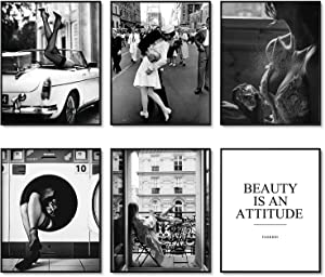 Retro Wall Art Prints Set of 6 Black and White Pictures Perfume Woman Vintage Wall Art Decor Fashion Art Poster Set for Living Room Decor Office Decoration (8