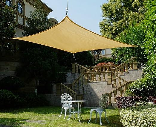 Cool Area cuadrado 4, 5 x 4, 5 m Toldo parasol Toldo, protección UV para balcón Terraza Jardín, arena: Amazon.es: Jardín