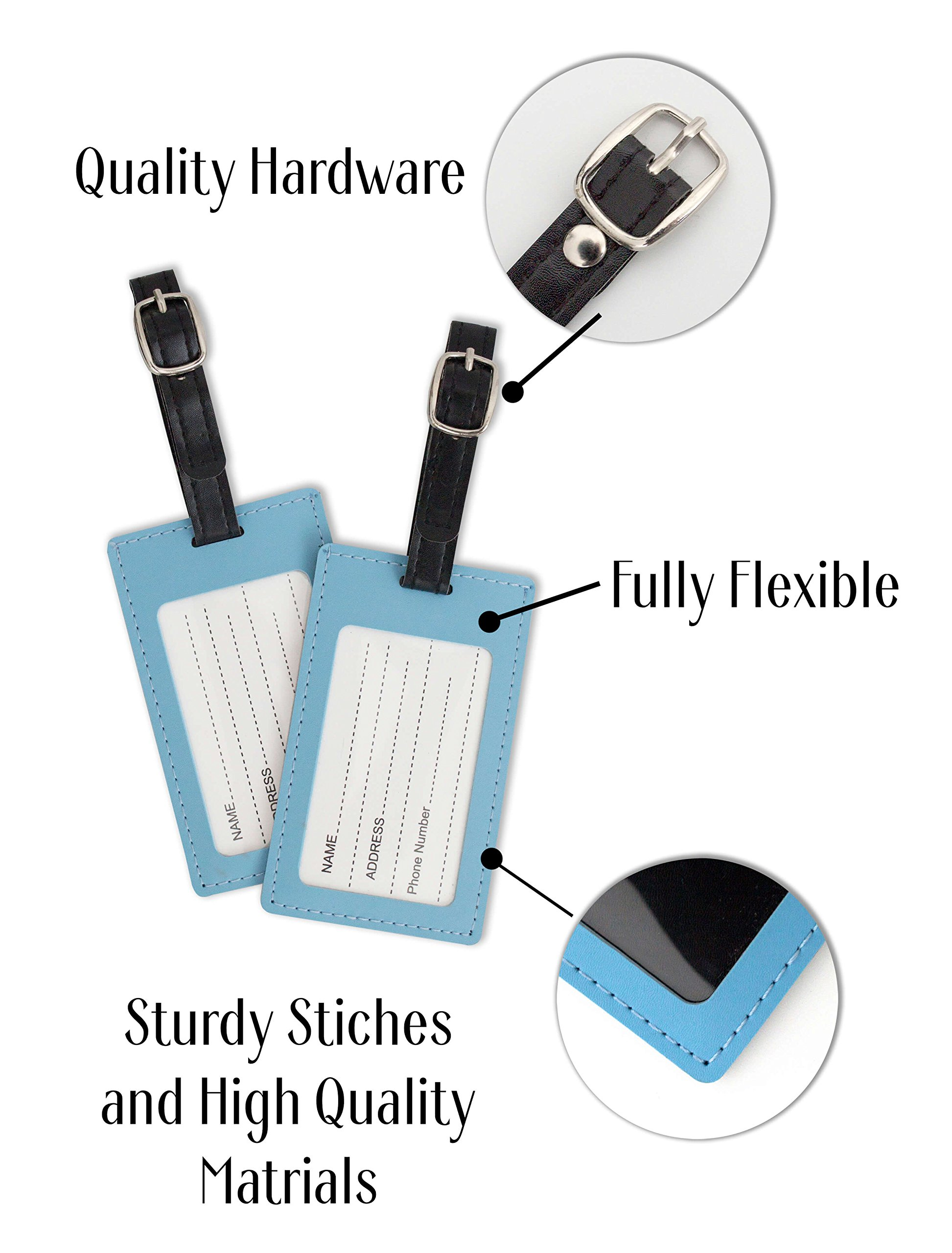 BURIUS Innovations Luggage Tags: Top 2-Pack Suitcase Tags/Travel Bag Identifiers