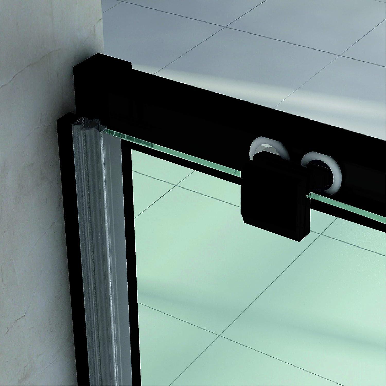 Disponible en varias medidas VAROBATH .Mampara de ducha con apertura frontal de puerta corredera 157 a 166 perfil NEGRO y cristal transparente con 6 mm de grosor