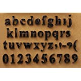 press in letters and numbers stone concrete stamps lowercase traditional typeface