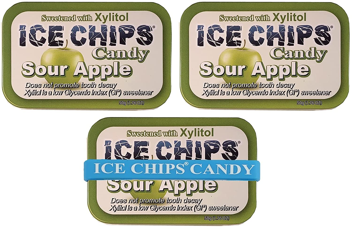 ICE CHIPS Xylitol Candy Tins (Sour Apple, 3 Pack) - Includes BAND as shown