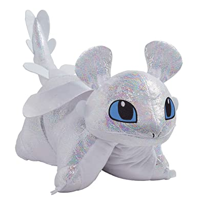"Pillow Pets Nbcuniversal How to Train Your Dragon Light Fury 16"" Stuffed Animal Plush Toy: Toys & Games"