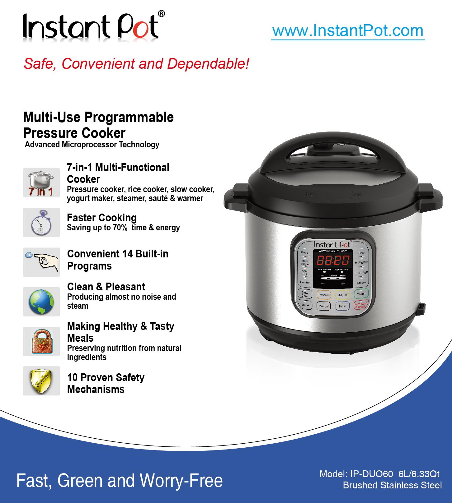 Instant Pot DUO60 6 Qt 7-in-1 Multi-Use Programmable Pressure Cooker, Slow Cooker, Rice Cooker, Steamer, Sauté, Yogurt Maker and Warmer by Instant Pot (Image #6)