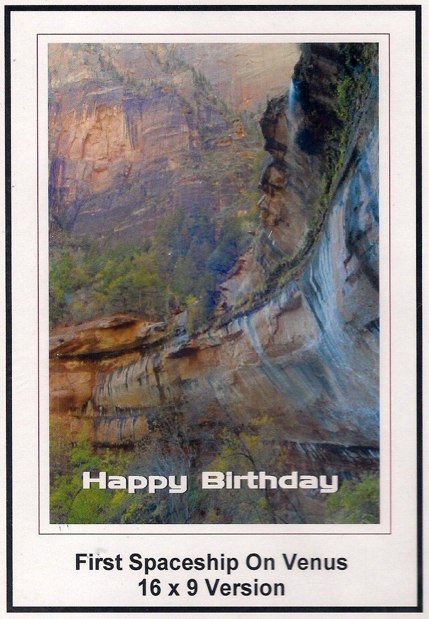 First Spaceship On Venus: Widescreen TV: Greeting Card: Happy Birthday