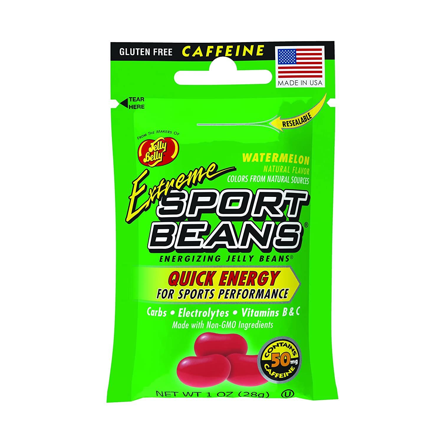 Jelly Belly Extreme Sport Beans, Caffeinated Jelly Beans, Watermelon Flavor, 24 Pack, 1-oz Each