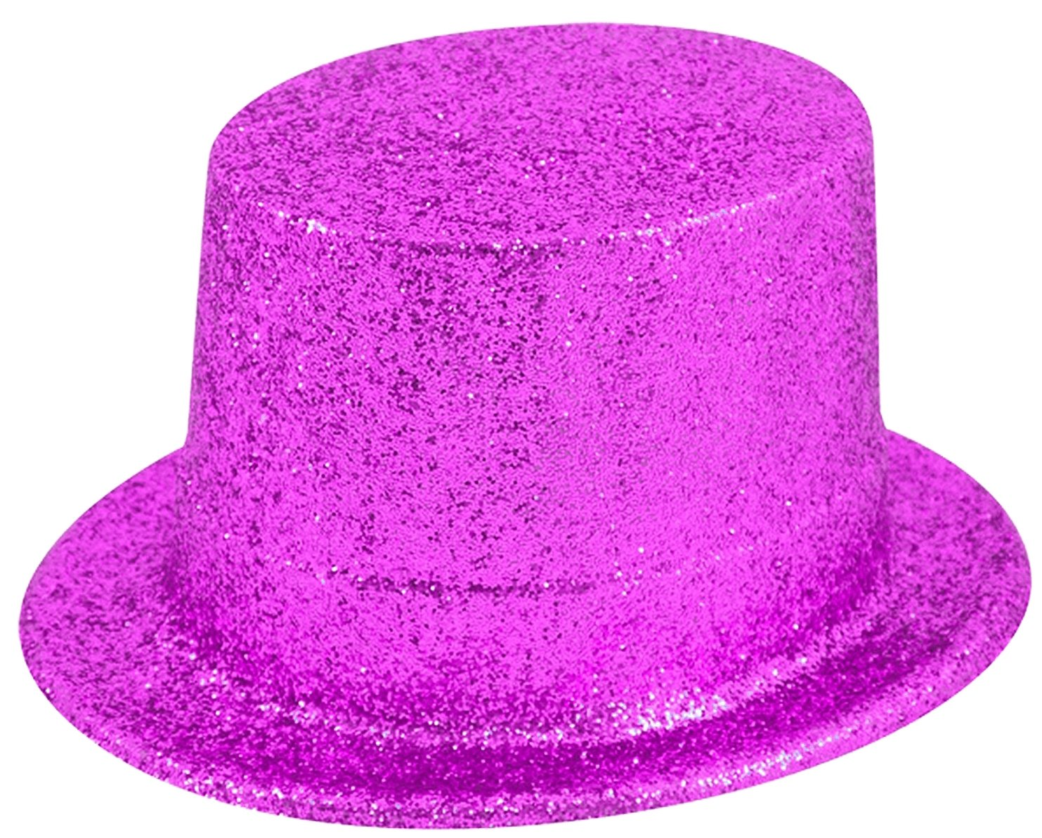 25a3ed5accd 12 x PINK Glitter Plastic Top Hats Adults Fancy Dress Costume Accessory   Amazon.co.uk  Toys   Games