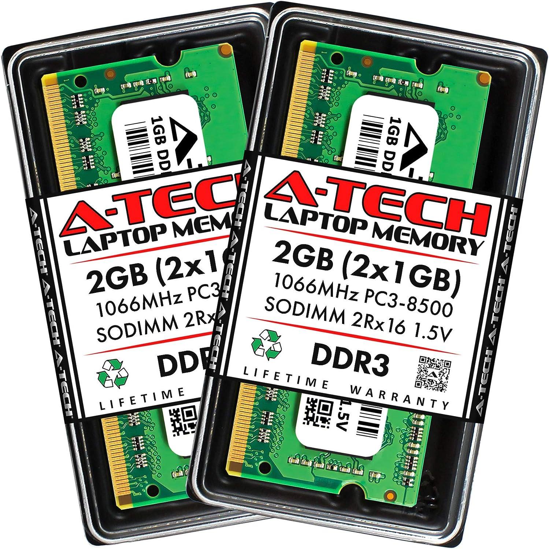 A-Tech 2GB (2 x 1GB) DDR3 1066MHz PC3-8500 Laptop RAM SODIMM Kit | 2Rx16 1.5V Non-ECC Unbuffered 204-Pin Memory Upgrade Modules