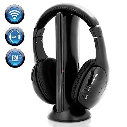 93c3b5ebb0c Stereo Wireless Over Ear Headphones - Hi-fi Headphone Professional Black  Monitor Headset with 30m