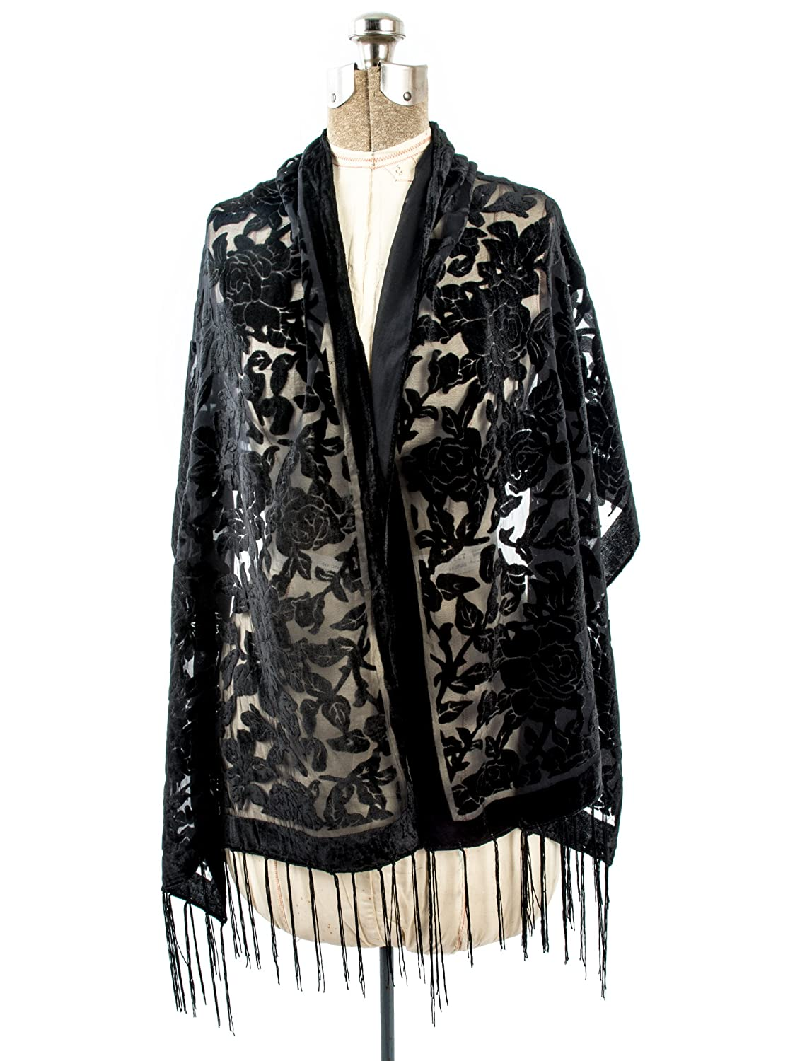 Victorian Wraps, Capes, Shawl, Capelets Bohomonde Beatrice Scarf Floral Burnout Fringe Scarf Silk Shawl $17.95 AT vintagedancer.com