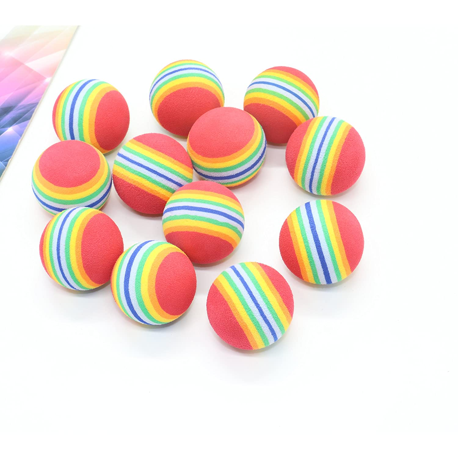 Pack of 12 Colorful Soft Foam Rainbow Play Balls For Pet Cat By IDS